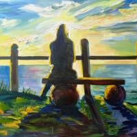 Jūrkalnē (meitene saulrietā) | Jurkalne | 2010 | 70x90 | Available