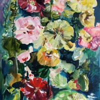 Kāršu rozes | Hollyhock | 2015 | 80x40 | Available