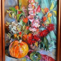 Ķirbji un puķes | Pumpkins and flowers | 2017 |Framed|  Available
