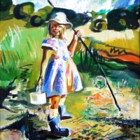 Makšķerniece | Little fisher | 2000 | 92x65 | Not available