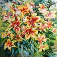 Mana dārza lilijas | My garden lilies | 2015 | 70x70 | Available